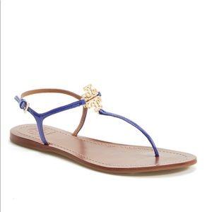 "Tory Burch ""Melinda"" sandals in patent royal blue"